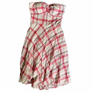 Signature by sangria strapless dress plaid red 4